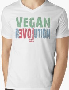 VEGAN REVOLUTION - vegan, vegetarian, animal rights, cruelty to animals Mens V-Neck T-Shirt