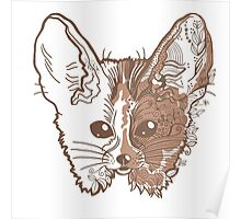 Fennec fox with pretty flowers Poster