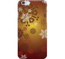 Red Background with Snowflakes iPhone Case/Skin