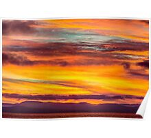 Fire in the Sky over Vancouver Island, Canada  Poster