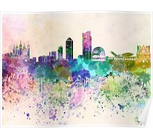 Lyon skyline in watercolor background Poster