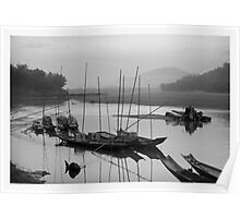 Life at Mae Khong river in sunset Poster