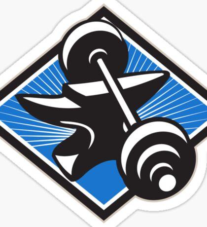 Anvil And Barbell Retro Sticker