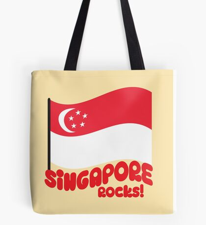 Singapore Rocks! with waving flag Tote Bag
