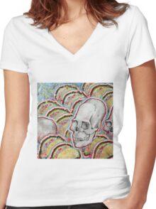 Skull Tacos Women's Fitted V-Neck T-Shirt