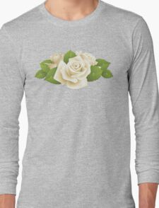 Roses, Flowers, Leaves, Petals - White Green   Long Sleeve T-Shirt