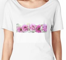 purple and mauve Flower frame on white  Women's Relaxed Fit T-Shirt