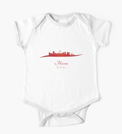 Macau skyline in red One Piece - Short Sleeve