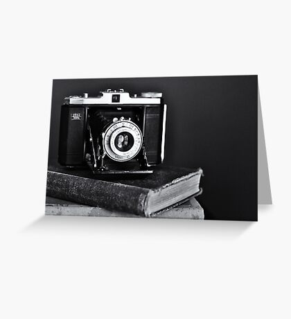 Old Camera, Old Books Greeting Card