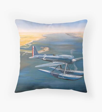 Supermarine S-6 over Calshot Throw Pillow