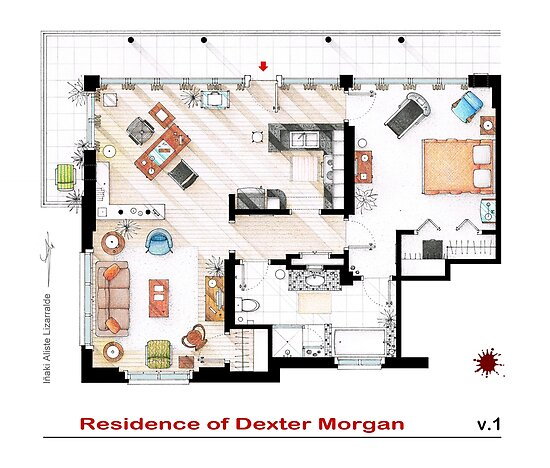 Floorplan of the apartment of Dexter Morgan v.1 by Iñaki Aliste Lizarralde