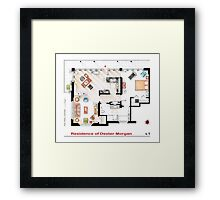 Floorplan of the apartment of Dexter Morgan v.1 Framed Print