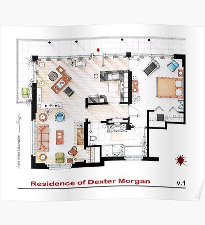 Floorplan of the apartment of Dexter Morgan v.1 Poster