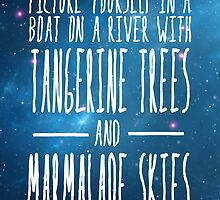 The Beatles -  Lucy in the Sky With Diamonds - Lyric Poster by burbujaroja