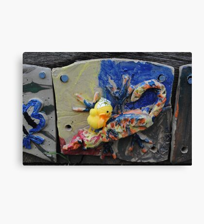 Chick with Coloured Tile Canvas Print