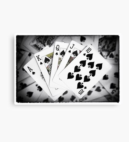 Playing Cards Royal Flush with Digital Border and Effects Canvas Print