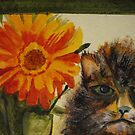 Cat and Zinnia by JRobinWhitley