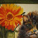 Cat and Zinnia by JRobinWhitley