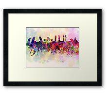 Madrid skyline in watercolor background Framed Print