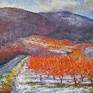 Peach ochard in January by Julia Lesnichy