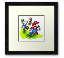 Mario and Luigi Brothers - Nintendo Framed Print