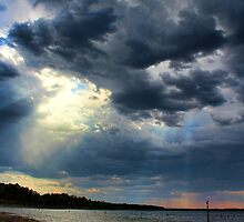 Sunrays Over Lake Eufaula by Carolyn  Fletcher