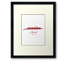 Madrid skyline in red Framed Print