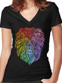 Lion Mandala Women's Fitted V-Neck T-Shirt