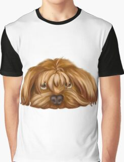 A Big Dog Lower his Body to the Ground, Thinking Something.  Graphic T-Shirt