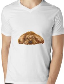 A Big Dog Lower his Body to the Ground, Thinking Something.  Mens V-Neck T-Shirt