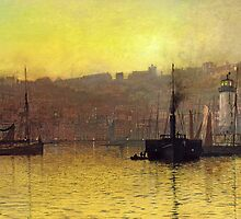 Nightfall in Scarborough Harbour, 1884 by Bridgeman Art Library