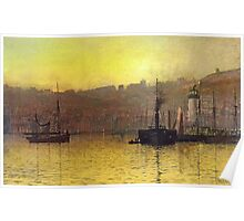 Nightfall in Scarborough Harbour, 1884 Poster