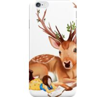 The Deer Rider is Taking the rest at the Deer's Side, Reading a Book. iPhone Case/Skin