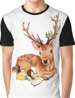 The Deer Rider is Taking the rest at the Deer's Side, Reading a Book. Graphic T-Shirt