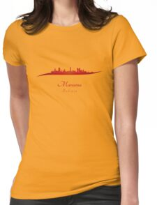 Manama skyline in red Womens Fitted T-Shirt
