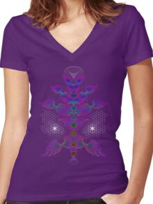 aWEARness Clothing (With coloured aura) Women's Fitted V-Neck T-Shirt