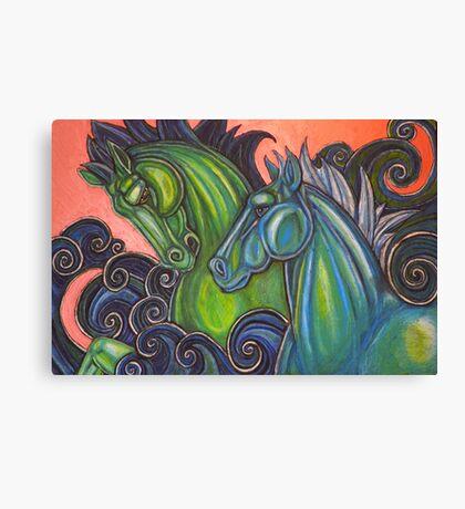 Swimming Horses (Hippocampi) Canvas Print