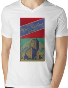 Vintage Detroit Fort Shelby Hotel #1 Mens V-Neck T-Shirt