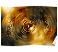 Music speakers on a gold background Poster
