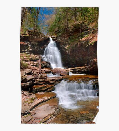 Electric Blue Skies Over Ozone Falls Poster