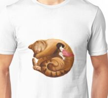 The Big Cat Sleeps into a Ball and the Little Girl Sleeps with him Together Unisex T-Shirt