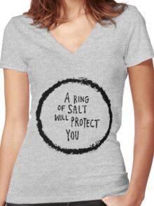 a ring of salt will protect you - Black Women's Fitted V-Neck T-Shirt
