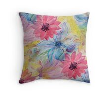 Watercolor hand paint floral design Throw Pillow