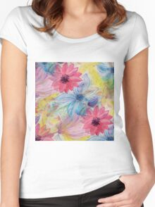 Watercolor hand paint floral design Women's Fitted Scoop T-Shirt