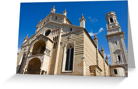 Verona Cathedral facade distant angle shot over blue sky by kirilart