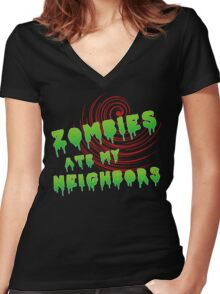 zombies ate my neighbors Women's Fitted V-Neck T-Shirt