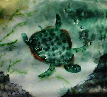 Sea Turtle, watercolor by Anna  Lewis, blind artist