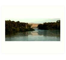 hume weir wall, murry river Art Print