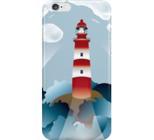 Lighthouse lights on over the unsteady sea iPhone Case/Skin