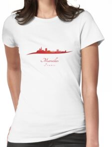 Marseilles skyline in red Womens Fitted T-Shirt
